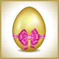 Golden easter egg vector pink ribbon element invitation greeting card Stock Image