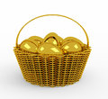 Golden easter eggs in  basket isolated Royalty Free Stock Photography