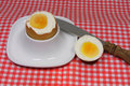 Golden egg in an egg cup on a red patterned napkin with spoon Royalty Free Stock Photo