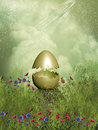 Golden egg in a field with flowers Royalty Free Stock Images
