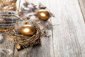 Golden egg in nest on wooden background Stock Images