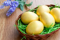 Golden eggs in a basket Royalty Free Stock Images