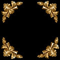Golden elements of carved frame Royalty Free Stock Image