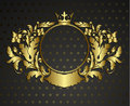 Golden emblem cartouche vector vintage border frame engraving with retro ornament pattern in antique rococo style decorative Stock Image