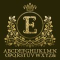 Golden encrusted letters and initial monogram in coat of arms form with crown. Royal font and elements kit for logo Royalty Free Stock Photo