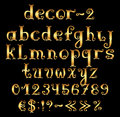 Golden english alphabet with numbers and symbols decorative vintage Stock Images