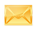 Golden envelope on white background Stock Photography