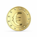 Golden euro coin on white background with clipping path Royalty Free Stock Photography