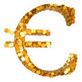 Golden Euro currency and cash Stock Photography