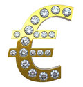 Golden Euro currency symbol with diamonds Stock Photography