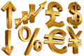 Golden euro dollar pound yen arrow Stock Photography