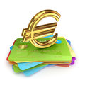 Golden euro sign on a colorful credit cards. Stock Photo