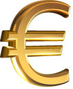 Golden euro sign extruded gold vector on white background Royalty Free Stock Photos