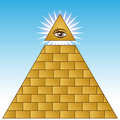 Golden Eye Financial Pyramid Royalty Free Stock Photo