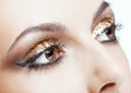 Golden eye makeup close up shot of female face with vogue shining Royalty Free Stock Photo