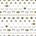 Golden eyes pattern with lips, crown, lightning and geometric shapes in memphis style. Fashion background in 80s