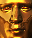 Golden Face with Piercing Gaze Royalty Free Stock Photo