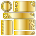 Golden festive banner or button collection Royalty Free Stock Photo