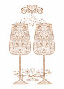 Golden festive wedding glasses decorative pattern Stock Photography