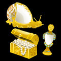 Golden figurines of shells, snails and bust
