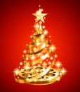 Golden film strip christmas tree shiny olden on the red background Royalty Free Stock Images
