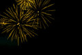 Golden fireworks border on the black sky background with copyspa copyspace for text Stock Images