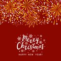 Golden fireworks border on red background - greeting card for Christmas design Royalty Free Stock Photo