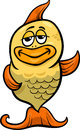 Golden fish cartoon illustration of funny gold character Royalty Free Stock Photography