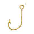 Golden Fishing Hook. 3d Rendering Royalty Free Stock Photo