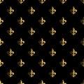 Golden fleur-de-lis seamless pattern. Gold template. Floral classic texture. Fleur de lis royal lily retro background. Design vint Royalty Free Stock Photo