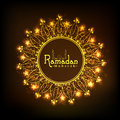 Golden floral frame for holy month, Ramadan Kareem celebration. Royalty Free Stock Photo