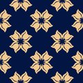 Golden floral seamless pattern on blue background Royalty Free Stock Photo