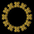 Golden flowers d moldings made ​​of gold on a black background Stock Images