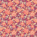 Golden flowers and leaves seamless pattern vector elegant background Stock Images