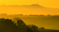 Golden fog in Tuscany Royalty Free Stock Image