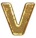 Golden font. Letter V. Royalty Free Stock Photography