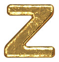 Golden font. Letter Z. Royalty Free Stock Photo
