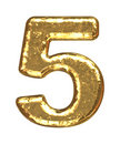 Golden font. Number five Royalty Free Stock Photo