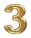 Golden font. Number three Stock Photo