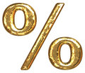 Golden font. Percent sign Royalty Free Stock Photo