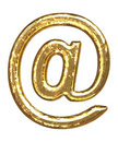 Golden font. 'At' sign Royalty Free Stock Photography