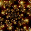 Golden Fractal Stars in Space Abstract Background Stock Photography