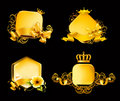 Golden Frame on black Royalty Free Stock Photos