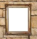 Golden frame on brick stone wall background blank Royalty Free Stock Photo