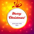 Golden frame Christmas ball with red ribbon Royalty Free Stock Photo