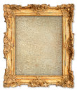 Golden frame with empty cracked canvas for your picture old grunge photo image beautiful vintage background Royalty Free Stock Photography