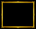 golden frame isolated on black background, clipping path. Royalty Free Stock Photo