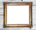 Golden frame on modern marble wall Royalty Free Stock Photo