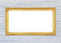 Golden frame on modern wall background Royalty Free Stock Photo