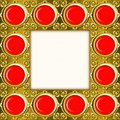 Golden frame with red stones Royalty Free Stock Photography